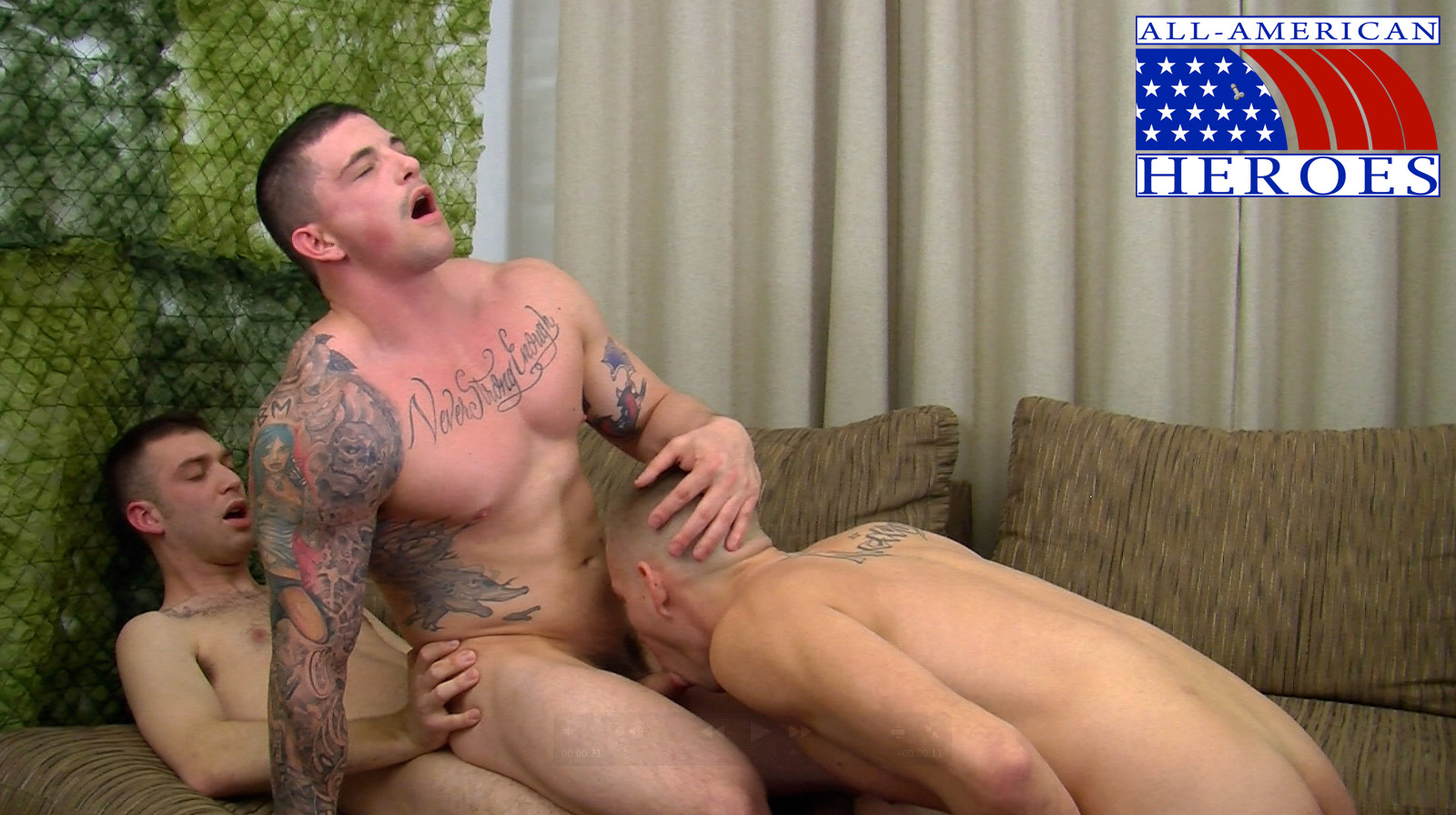 All-American-Heroes-Sergeant-Slate-Triple-fucking-big-cocks-Army-guys-Amateur-Gay-Porn-10 Two Real Army Privates Fuck Their Muscle Sergeant and Cum In His Mouth