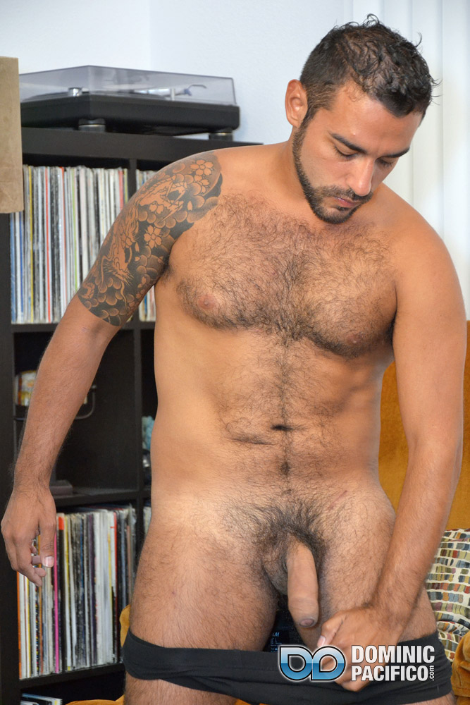 DOMINIC-PACIFICO-Nicko-Morales-Big-Uncut-Cock-Masturbation-Amateur-Gay-Porn-11 Amateur Straight Muscular Hairy Hunk With Huge Uncut Cock Jerks Out A Huge Cum Load