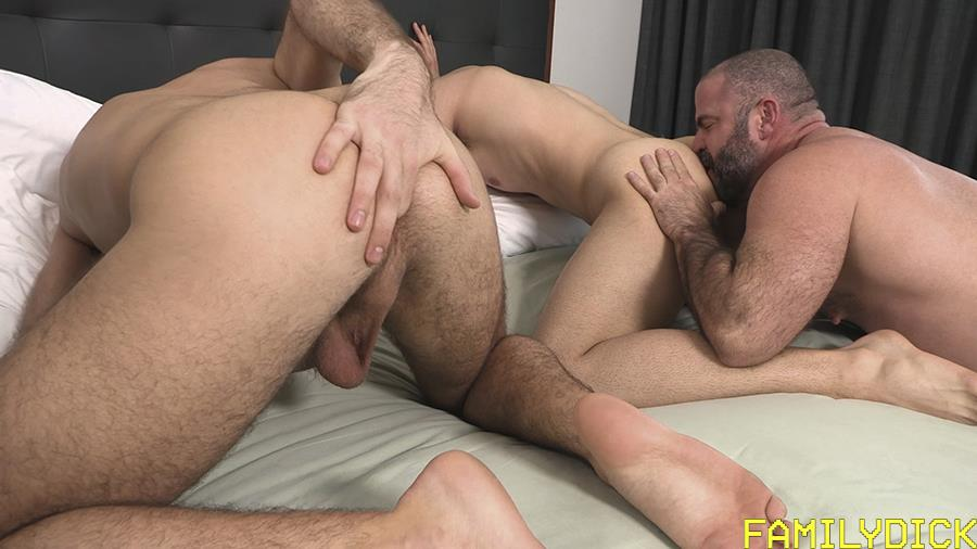 Family-Dick-Muscle-Bear-Stepdad-Bareback-Fucks-His-Stepsons-Gay-Sex-Video-09 Hairy Muscle Bear Daddy Takes Turns Bareback Fucking His Two Stepsons